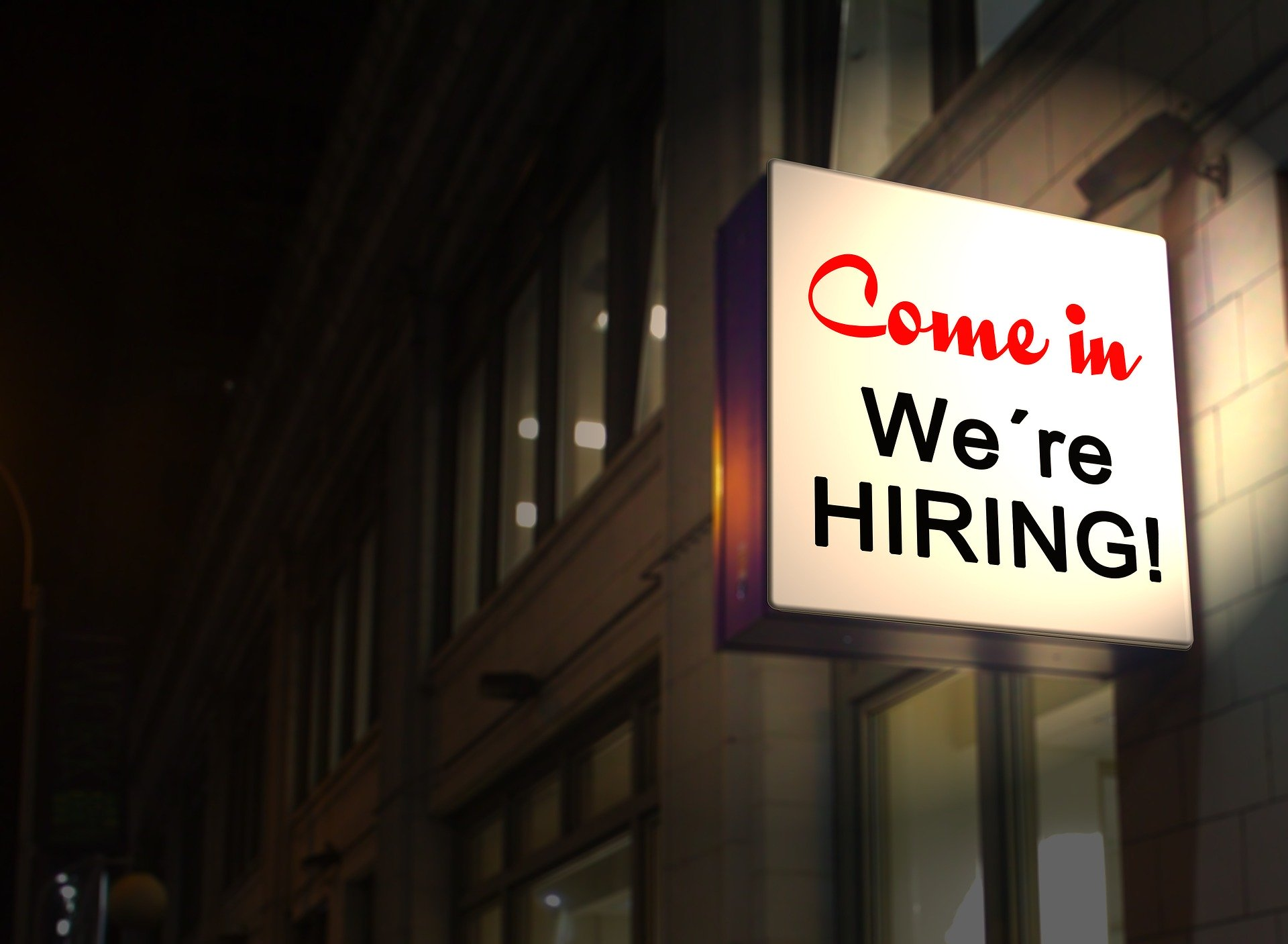 we're hiring sign