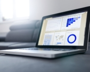 project management on a laptop